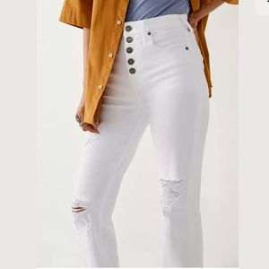 TRUE RELIGION Starr Button High Rise Cropped Jeans